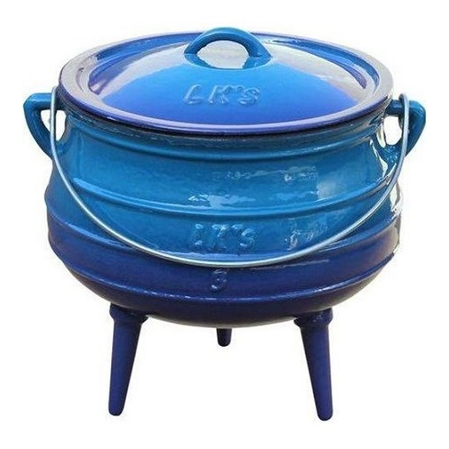 LK's BLUE Enamel Coated 3 Legged Potjie Pot No.3